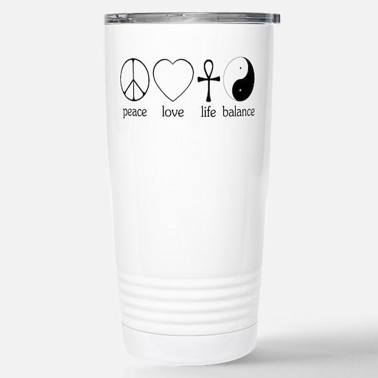 Peace Love Life Balance Stainless Steel Travel Mug