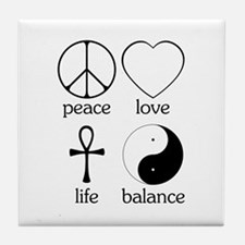 Peace Love Life Balance Tile Coaster