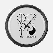 Peace Love Life Balance Large Wall Clock