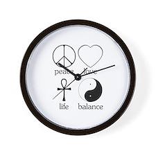 Peace Love Life Balance Wall Clock