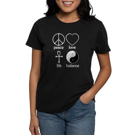 Peace Love Life Balance Women's Dark T-Shirt