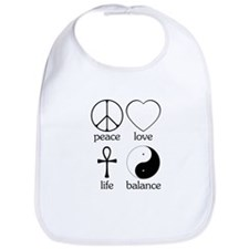 Peace Love Life Balance Bib