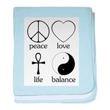 Peace Love Life Balance Infant Blanket