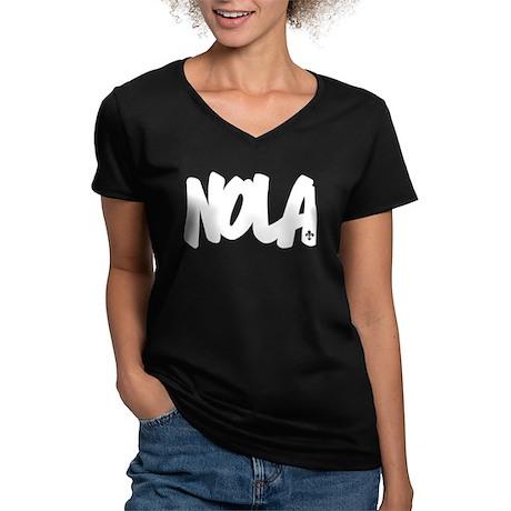 NOLA Brushed Women's V-Neck Dark T-Shirt