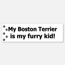 Boston Terrier Furry Kid Bumper Bumper Bumper Sticker
