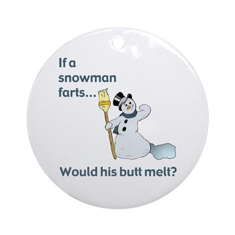 Snowman Fart Ornament (Round)