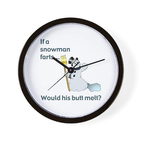 Snowman Fart Wall Clock