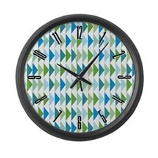 Retro Triangle Pattern Large Wall Clock