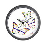 Rainbow Butterfly Wall Clock