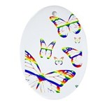 Rainbow Butterfly Oval Ornament