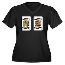 Cute Pairs Women's Plus Size V-Neck Dark T-Shirt