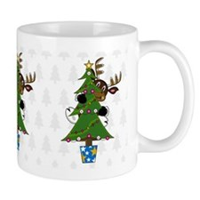 Cute Reindeer and Christmas Tree Coffee Mug