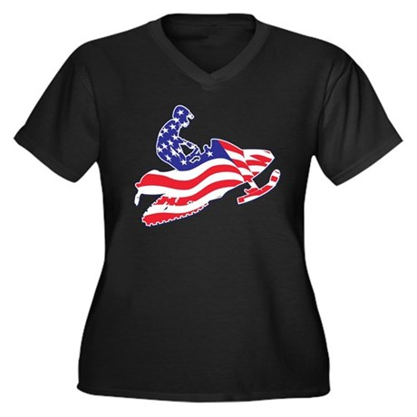Patriotic Snowmobiler Women's Plus Size V-Neck Dar