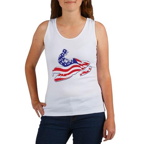 Patriotic Snowmobiler Women's Tank Top