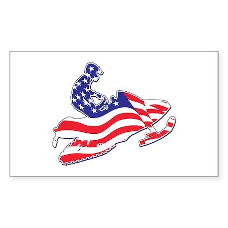 Patriotic Snowmobiler Sticker (Rectangle)