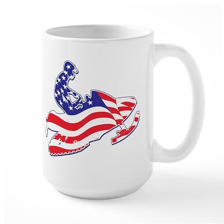 Patriotic Snowmobiler Large Mug