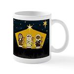 Three Cute Nativity Shepherds at Barn Coffee Mug