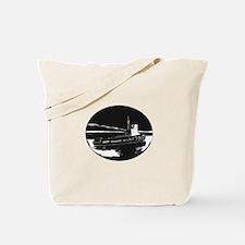 River Tugboat Oval Woodcut Tote Bag
