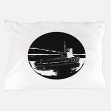 River Tugboat Oval Woodcut Pillow Case