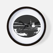 River Tugboat Oval Woodcut Wall Clock
