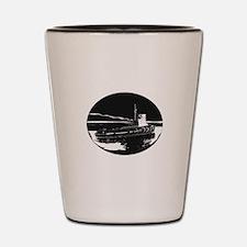 River Tugboat Oval Woodcut Shot Glass