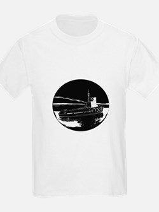 River Tugboat Oval Woodcut T-Shirt