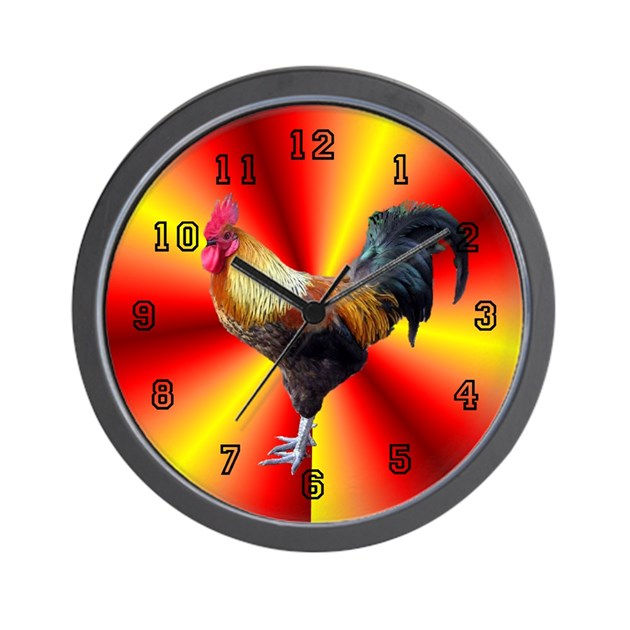 Rooster Wall Clock 10inch By Dodgerfl