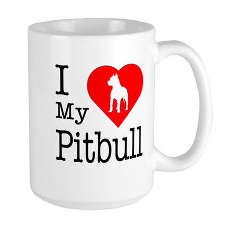 I Love My Pitbull Terrier Large Mug