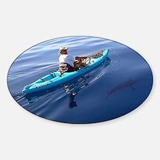 Kayak Fishing (Blue) - Sticker (Oval Euro)