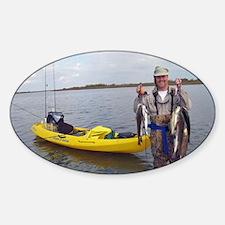 Kayak Fishing (Yellow) - Sticker (Oval Euro)