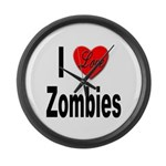 I Love Zombies Large Wall Clock