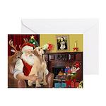Santa's Yellow Lab (lap) Greeting Cards (Pk of 10)