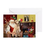 Santa's Yellow Lab (lap) Greeting Cards (Pk of 20)