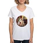 Santa's Lab (Y-lap) Women's V-Neck T-Shirt