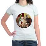 Santa's Lab (Y-lap) Jr. Ringer T-Shirt