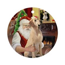 Santa's Lab (Y-lap) Ornament (Round)