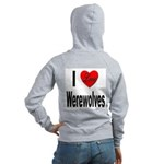 I Love Werewolves (Back) Women's Zip Hoodie
