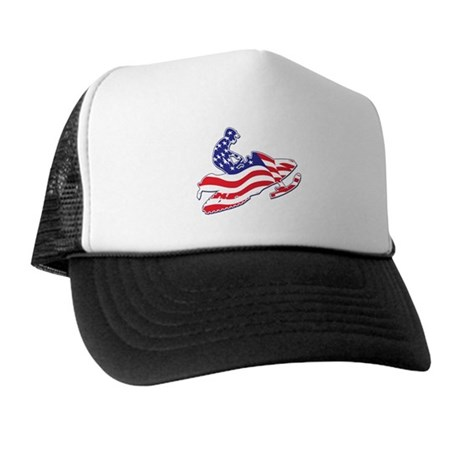 Patriotic Red White and Blue Snowmobiler Trucker H