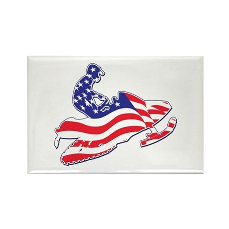 Patriotic Red White and Blue Snowmobiler Rectangle