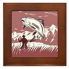 fly fishing trout Framed Tile