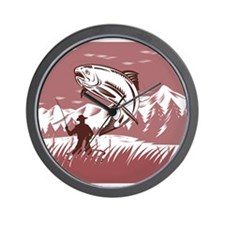 fly fishing trout Wall Clock
