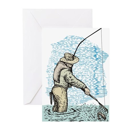 Fly fishing trout Greeting Cards (Pk of 20)