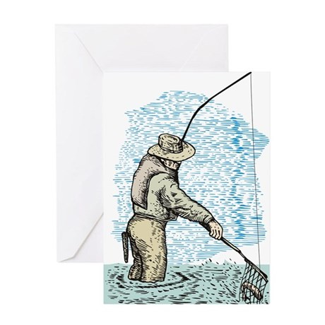 Fly fishing trout Greeting Card
