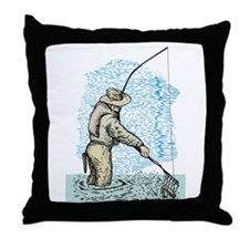 Fly fishing trout Throw Pillow