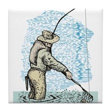 Fly fishing trout Tile Coaster