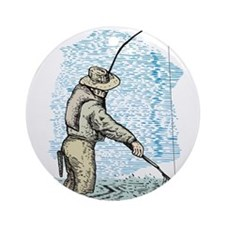 Fly fishing trout Ornament (Round)