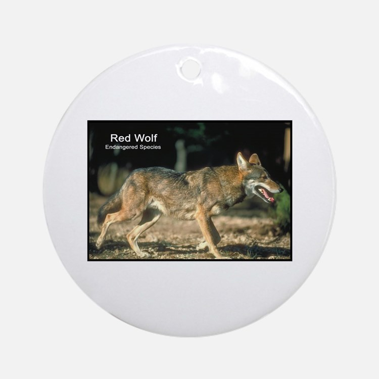 Red Wolf Photo Ornament (Round)
