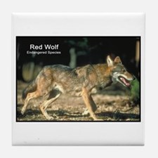 Red Wolf Photo Tile Coaster