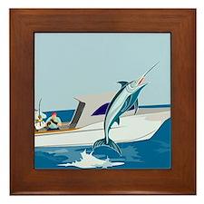 fishing blue marlin Framed Tile