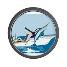 fishing blue marlin Wall Clock